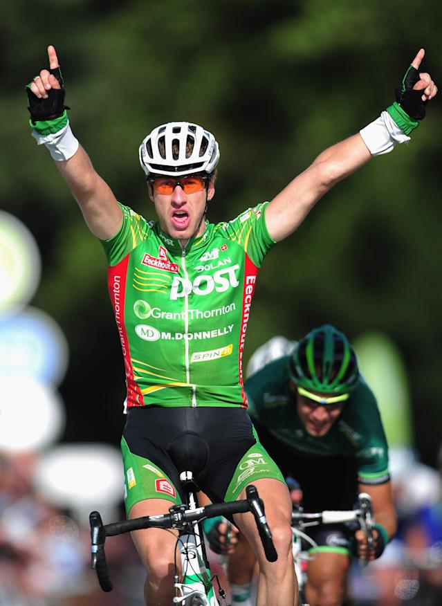 SANDRINGHAM, ENGLAND - SEPTEMBER 17: Gediminas Bagdonas of Lithuania and the An Post team wins the Tour of Britain Stage Seven between Bury St Edmonds and Sandringham on September 17, 2011 in Sandringham, England. (Photo by Jamie McDonald/Getty Images)