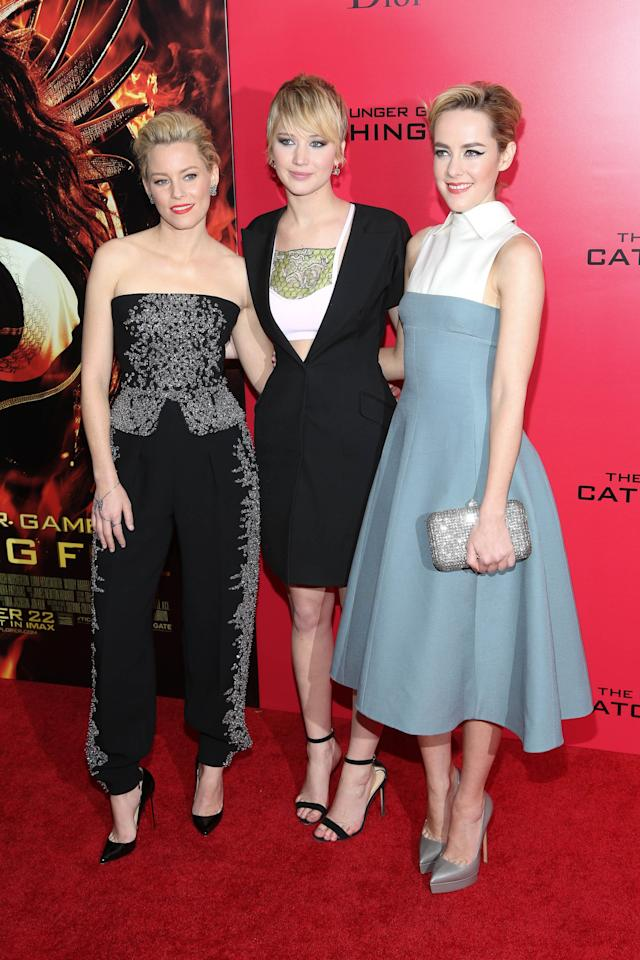 "NEW YORK, NY - NOVEMBER 20: (L-R) Elizabeth Banks, Jennifer Lawrence and Jena Malone attend a special screening of ""The Hunger Games: Catching Fire"" on November 20, 2013 in New York City. (Photo by Rob Kim/Getty Images)"