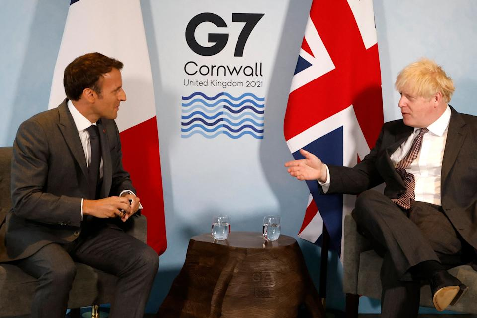 Boris Johnson and Emmanuel Macron meet during the G7 summit in Carbis Bay, Cornwall (Photo: LUDOVIC MARIN via Getty Images)
