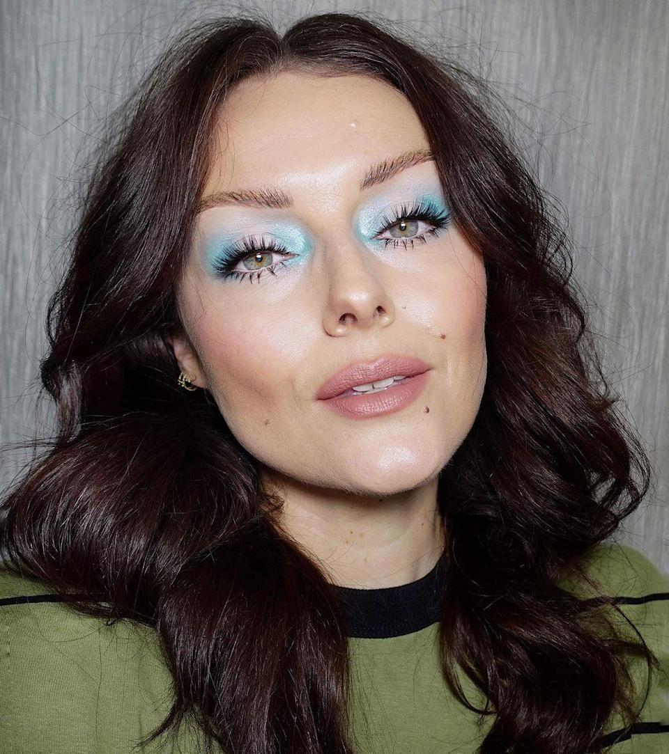 Retro-blue eyeshadow is having a moment, and we're 100% for it. Stick with a wash of one shade across your lids for an easy-vibe, or gradate a few, the way makeup artist Katie Jane Hughes did, for more dimension.