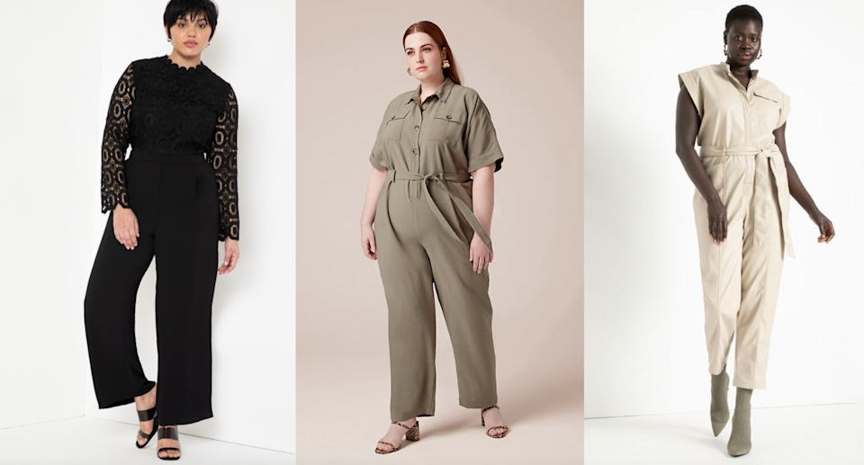three plus size models posing in black, tan, and beige jumpsuits
