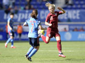 England midfielder Jordan Nobbs (10) passes the ball as Japan midfielder Emi Nakajima (7) looks on during the first half of a SheBelieves Cup soccer match Sunday, March 8, 2020, in Harrison, N.J. (AP Photo/Bill Kostroun)