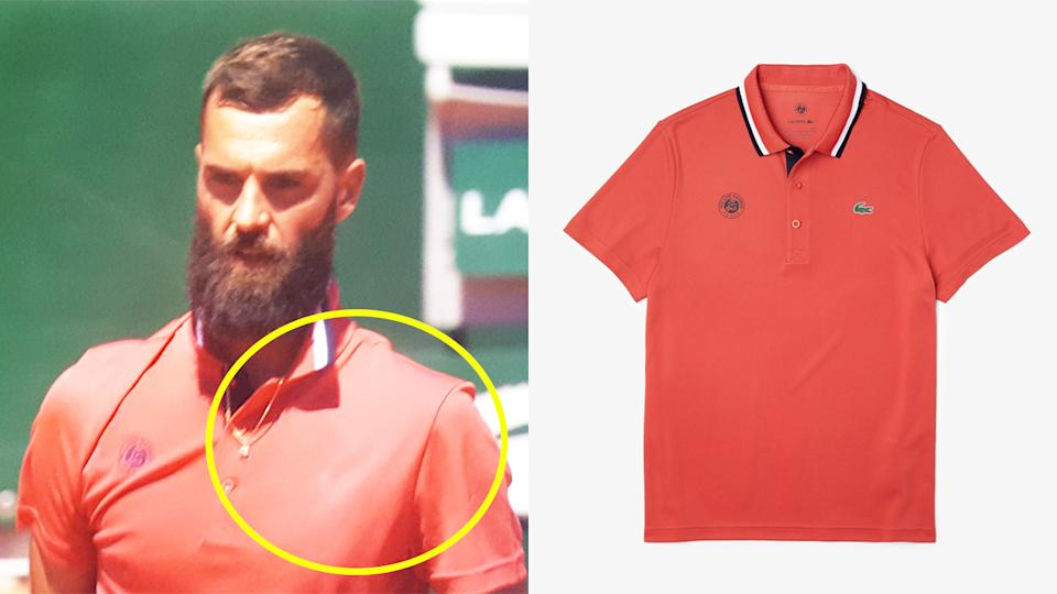 Benoit Paire (pictured left) appearing to wear an unbranded Lacoste shirt during his Roland Garros match and (pictured right) a photo of a Lacoste shirt.