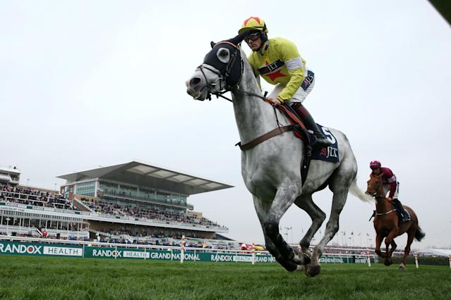Horse Racing - Grand National Festival - Aintree Racecourse, Liverpool, Britain - April 13, 2018 Politologue ridden by Sam Twiston-Davies in action during the 15:25 JLT Melling Chase Action Images via Reuters/Jason Cairnduff