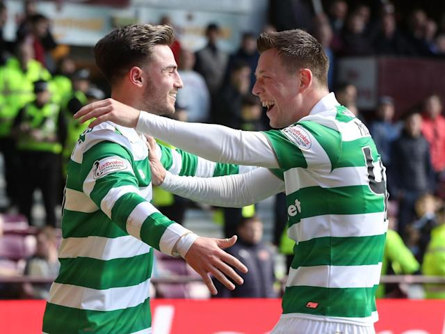 Patrick Roberts celebrates scoring Celtic's fourth goal (Getty)