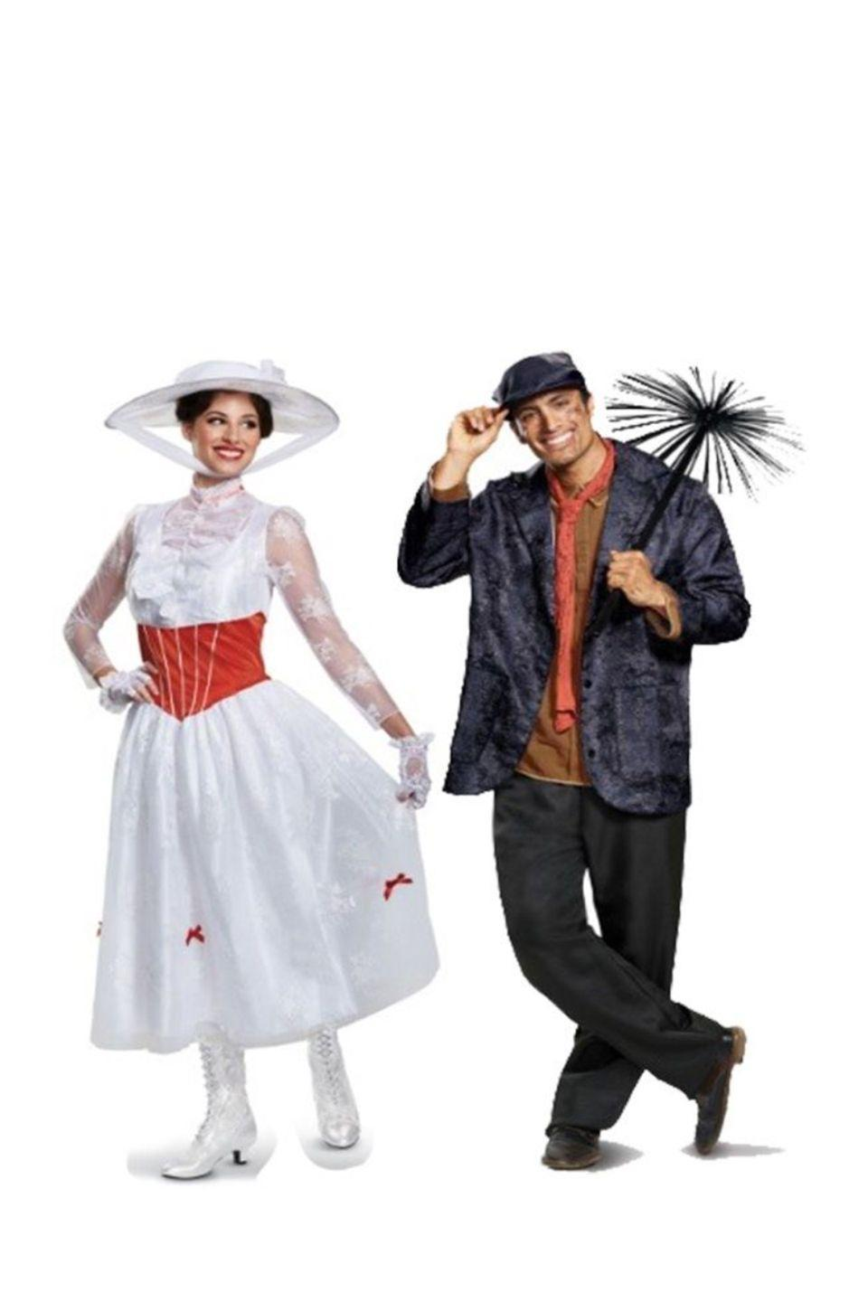 """<p>An underrated combination for sure, this Mary Poppins and Bert costume will make you stand out just because of how original it is.</p><p><a class=""""link rapid-noclick-resp"""" href=""""https://go.redirectingat.com?id=74968X1596630&url=https%3A%2F%2Fwww.halloweencostumes.com%2Fdeluxe-womens-mary-poppins-costume.html&sref=https%3A%2F%2Fwww.womansday.com%2Fstyle%2Fg28691602%2Fdisney-couples-costumes%2F"""" rel=""""nofollow noopener"""" target=""""_blank"""" data-ylk=""""slk:SHOP MARRY POPPINS COSTUME"""">SHOP MARRY POPPINS COSTUME</a></p><p><a class=""""link rapid-noclick-resp"""" href=""""https://go.redirectingat.com?id=74968X1596630&url=https%3A%2F%2Fwww.halloweencostumes.com%2Fchimney-sweep.html&sref=https%3A%2F%2Fwww.womansday.com%2Fstyle%2Fg28691602%2Fdisney-couples-costumes%2F"""" rel=""""nofollow noopener"""" target=""""_blank"""" data-ylk=""""slk:SHOP BERT COSTUME"""">SHOP BERT COSTUME</a> </p>"""