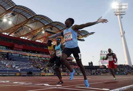 Athletics - Gold Coast 2018 Commonwealth Games - Men's 4x400m - Final - Carrara Stadium - Gold Coast, Australia - April 14, 2018. Isaac Makwala of Botswana celebrates. REUTERS/Paul Childs