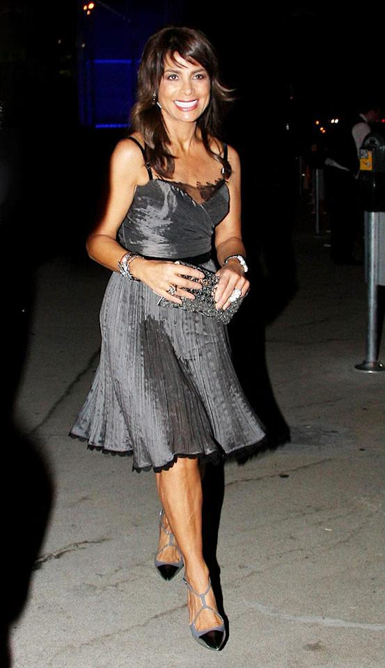 """With all the """"Idol"""" drama still swirling, it was nice to see Paula Abdul with a smile on her face as she headed to dinner at BOA in LA in a flirty silver frock and fierce footwear. Josephine Santos/<a href=""""http://www.pacificcoastnews.com/"""" target=""""new"""">PacificCoastNews.com</a> - August 15, 2009"""