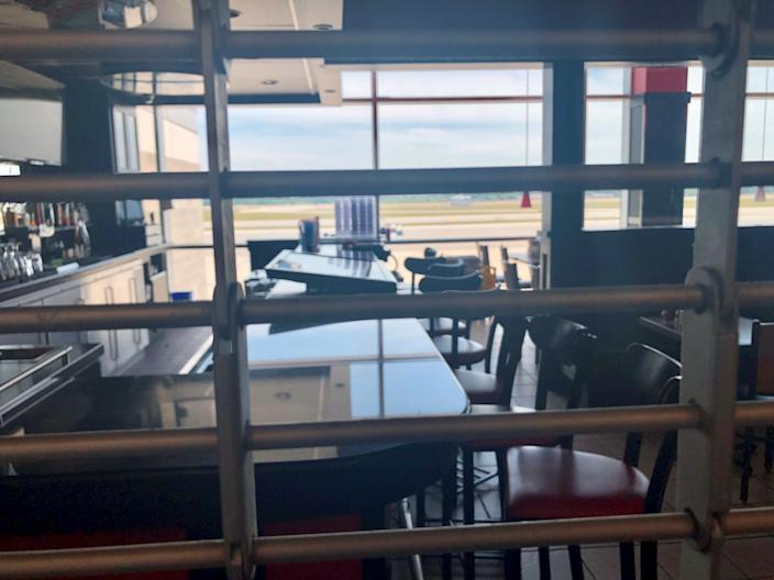 A closed bar at TF Green International Airport in Providence, Rhode Island, on Sunday June 21. Airport restaurants, shops and bars across the country have been slow to reopen due to the travel slump from the coronavirus crisis.