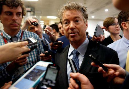 Senator Rand Paul (R-KY) speaks to reporters after Senate Republicans unveiled their version of legislation that would replace Obamacare on Capitol Hill in Washington, U.S., June 22, 2017. REUTERS/Joshua Roberts