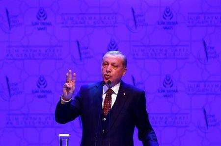 Turkish President Erdogan makes a speech during a meeting in Istanbul