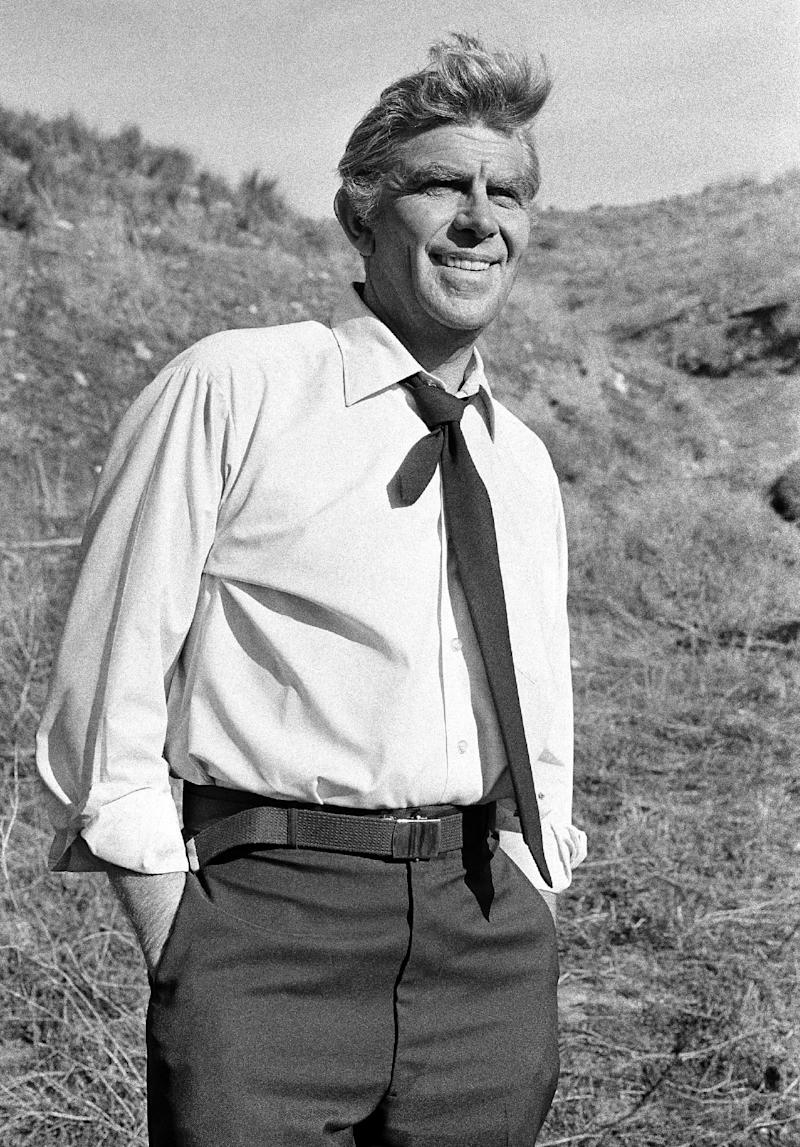 """FILE - This Feb. 23, 1979 file photo shows actor Andy Griffith on the set of TV's """"Salvage-1"""" near Los Angeles. Griffith, whose homespun mix of humor and wisdom made """"The Andy Griffith Show"""" an enduring TV favorite, died Tuesday, July 3, 2012 in Manteo, N.C. He was 86. (AP Photo, file)"""