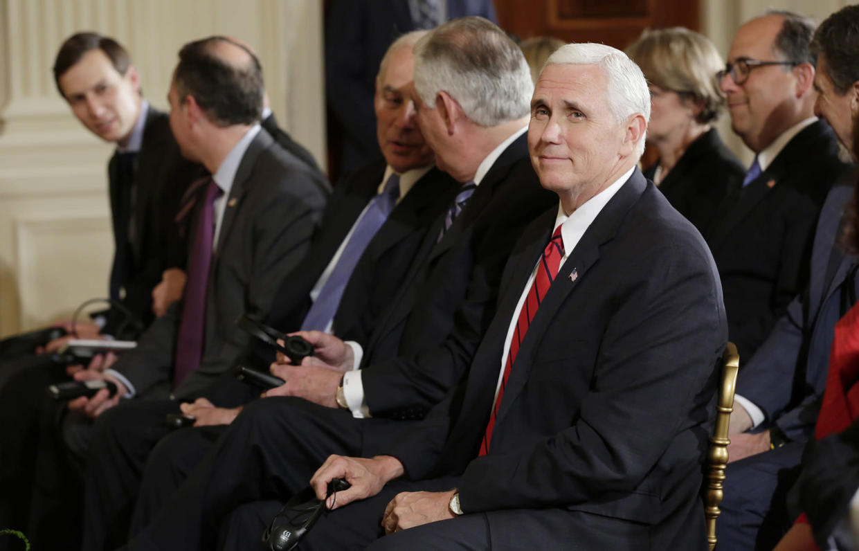 Vice President Mike Pence, right, sits with White House senior adviser Jared Kushner, chief of staff Reince Priebus, Secretary of Homeland Security John Kelly and Secretary of State Rex Tillerson before a news conference on May 18. (Photo: Yuri Gripas/Reuters)