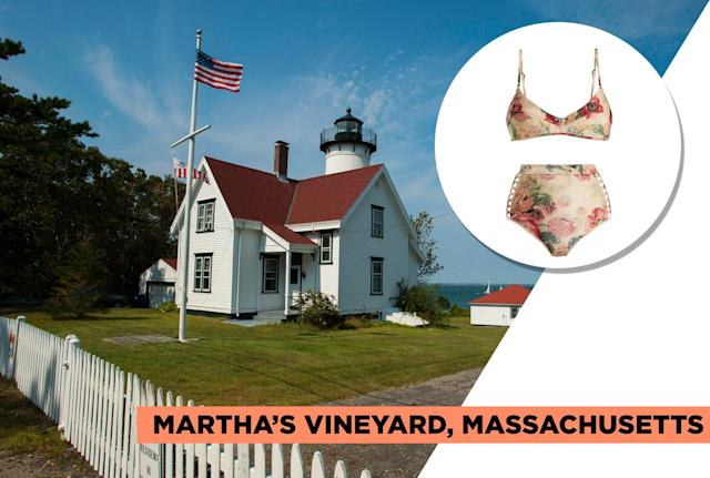 "<p>Martha's Vineyard is one of the country's most classic (if pricey) vacation spots and has been a popular (sometimes infamous) destination for past presidents and political figures, such as Barack Obama, Bill Clinton, and Ted Kennedy. Zimmermann's vintage floral bikini is fitting for its luxurious yet historic appeal. (Photo: Getty Images, Art: Quinn Lemmers for Yahoo Lifestyle)<br><br>Zimmermann — Melody Bullet Bra Bikini Top, $165, <a href=""https://www.matchesfashion.com/us/products/Zimmermann-Melody-Bullet-bra-bikini-top-1211369"" rel=""nofollow noopener"" target=""_blank"" data-ylk=""slk:matchesfashion.com"" class=""link rapid-noclick-resp"">matchesfashion.com</a><br> Zimmermann — Melody High-Rise Bikini Briefs, $210, <a href=""https://www.matchesfashion.com/us/products/Zimmermann-Melody-high-rise-bikini-briefs-1211370"" rel=""nofollow noopener"" target=""_blank"" data-ylk=""slk:matchesfashion.com"" class=""link rapid-noclick-resp"">matchesfashion.com</a> </p>"