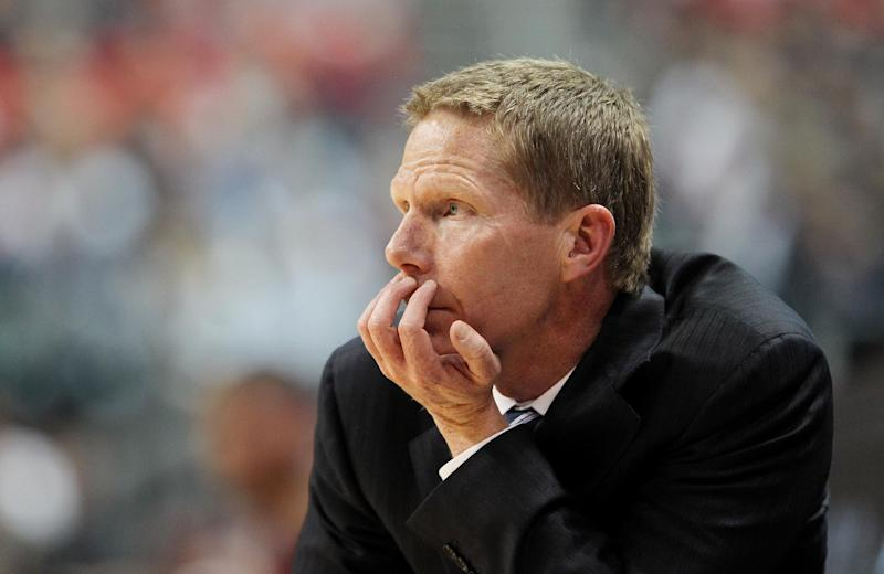 Gonzaga coach Mark Few watches his team during the first half of a West Coast Conference tournament NCAA college basketball game against Loyola Marymount on Saturday, March 9, 2013, in Las Vegas. Gonzaga won 66-48. (AP Photo/Isaac Brekken)
