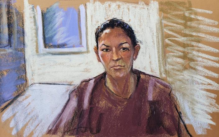 A courtroom sketch of Ghislaine Maxwell appearing via video link during her arraignment hearing in Manhattan Federal Court in New York in July 2020 - JANE ROSENBERG/REUTERS