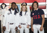 Athletes Daryl Homer (Fencing), left, Jordyn Barratt (Skateboard) and Heimana Reynolds (Skateboard) participate in the Team USA Tokyo Olympic closing ceremony uniform unveiling at the Ralph Lauren SoHo Store on April 13, 2021, in New York. Ralph Lauren is an official outfitter of the 2021 U.S. Olympic Team. (Photo by Evan Agostini/Invision/AP)