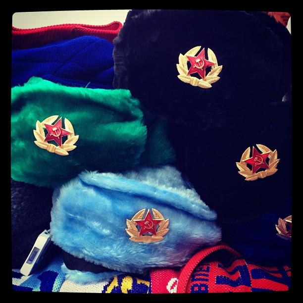 Russian hats for sale on the streets of Moscow. (#NickInEurope).
