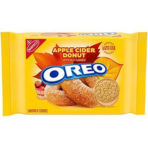 """<p><strong>Oreo</strong></p><p>amazon.com</p><p><strong>$8.63</strong></p><p><a href=""""https://www.amazon.com/dp/B08WZHC8JN?tag=syn-yahoo-20&ascsubtag=%5Bartid%7C10063.g.37661227%5Bsrc%7Cyahoo-us"""" rel=""""nofollow noopener"""" target=""""_blank"""" data-ylk=""""slk:Shop Now"""" class=""""link rapid-noclick-resp"""">Shop Now</a></p><p>Oreo has taken their golden Oreo and given it a fall twist with apple cider flavors for this limited edition cookie. </p>"""