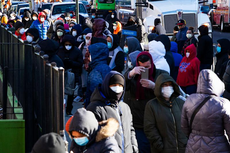 Dozens of people queue for a coronavirus test in Queens, New York where cases have grown exponentially in recent days. Source: Getty