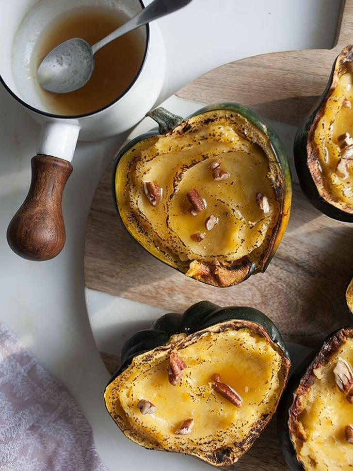 "<p>You've heard of twice-baked potatoes, but have you heard of twice-baked <em>acorn squash</em>? These cute little cups are filled with all the best flavors of the season along with creamy maple butter and crunchy pecans. Yum!</p> <p><strong>Get the recipe</strong>: <a href=""http://acozykitchen.com/twice-baked-acorn-squash/"" class=""link rapid-noclick-resp"" rel=""nofollow noopener"" target=""_blank"" data-ylk=""slk:twice-baked acorn squash with maple butter and pecans"">twice-baked acorn squash with maple butter and pecans</a> </p>"