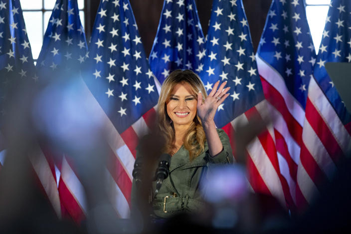 First lady Melania Trump speaks during a campaign rally on Tuesday, Oct. 27, 2020, in Atglen, Pa. (AP Photo/Laurence Kesterson)