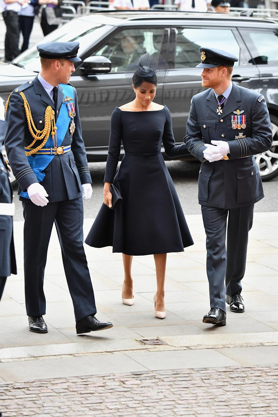 The Duchess of Sussex opted for a new silhouette. [Photo: Getty]