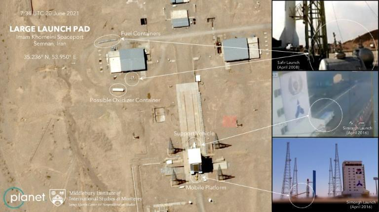 Satellite photos of Iran's Semnan Space Center taken on June 19-20 by Planet Labs