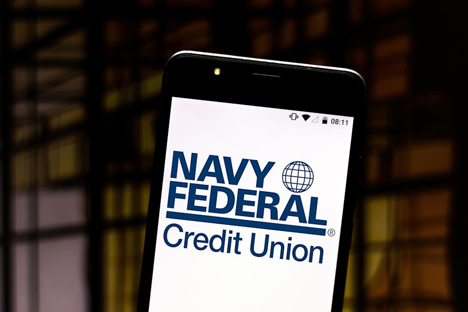 A Navy Federal Credit Union logo seen displayed on a smartphone. (Photo illustration: Rafael Henrique/SOPA Images/LightRocket via Getty Images)