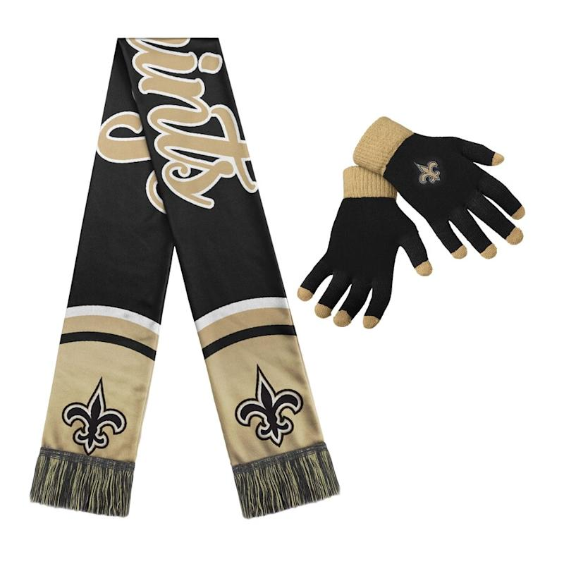 Women's Saints Gloves And Scarf Set