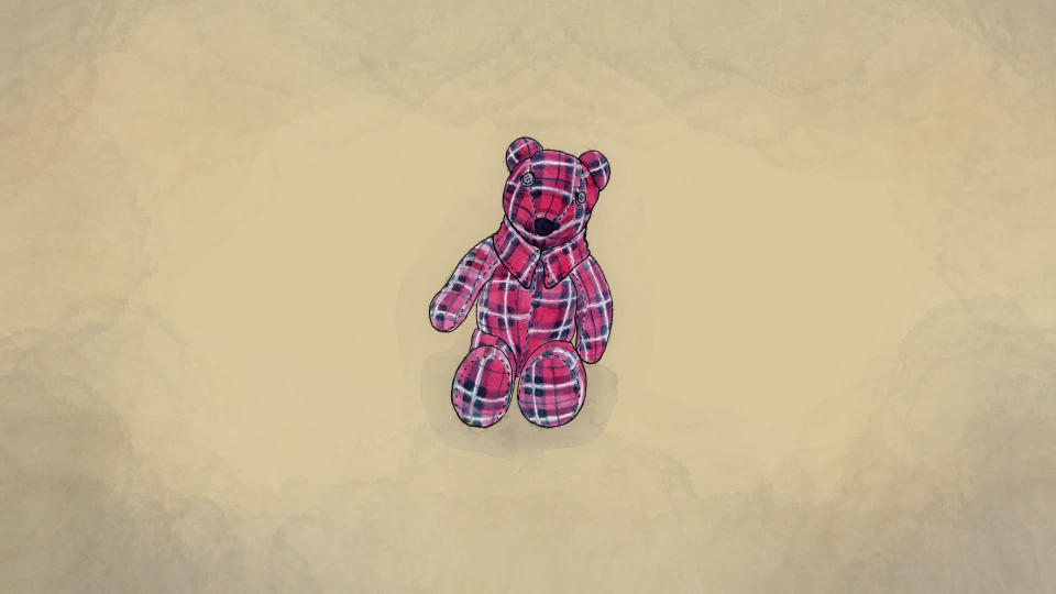 An illustration made from a photo provided by Meghan Carrier of a teddy bear she made from her father Cleon Boyd's flannel shirts. (AP Illustration/Peter Hamlin)