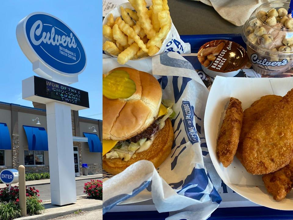 exterior of a culver's and a tray of food