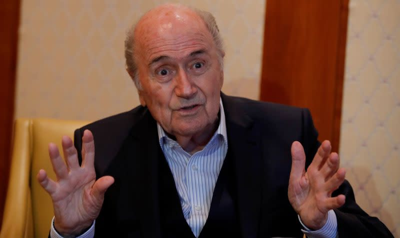 Former FIFA President Blatter gestures during an interview with Reuters in Zurich
