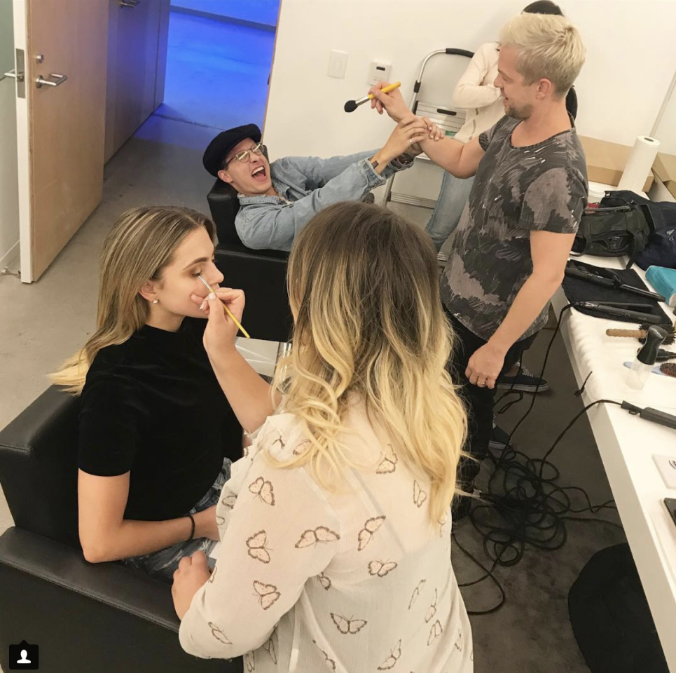 <p>Getting our hair and make-up done for #ZacandMiaShow press day! @kianlawley is handling it well… (Photo: Instagram) </p>