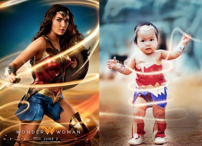 Mary Grace Pingoy is such a bignWonder Woman fan that she's already passing down her love for the superhero to her baby daughter.  (Mary Grace Pingoy of jmotivephotographycom)