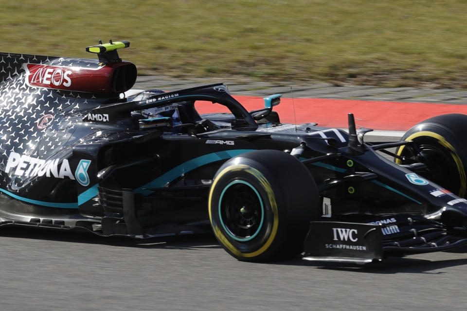 Mercedes driver Valtteri Bottas of Finland steers his car during the third practice session for the Eifel Formula One Grand Prix at the Nuerburgring racetrack in Nuerburg, Germany, Saturday, Oct. 10, 2020. The Germany F1 Grand Prix will be held on Sunday. (Ronald Wittek, Pool via AP)