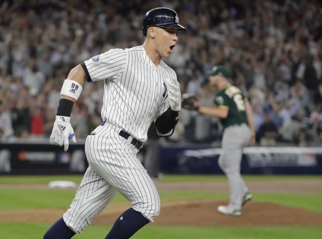Aaron Judge got the Yankees offense started with a monster two-run home run in the AL wild-card game. (AP)