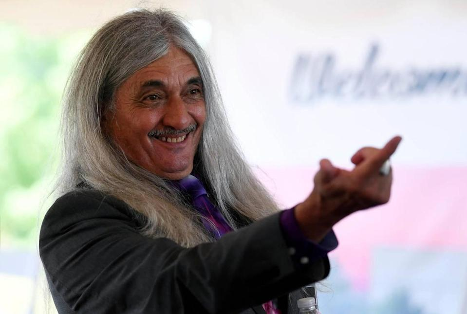 Catawba Indian Nation Chief Bill Harris smiles as he calls upon a partner in the casino business to answer a question after the groundbreaking ceremony for Two Kings Casino Resort on Wednesday, July 22, 2020.