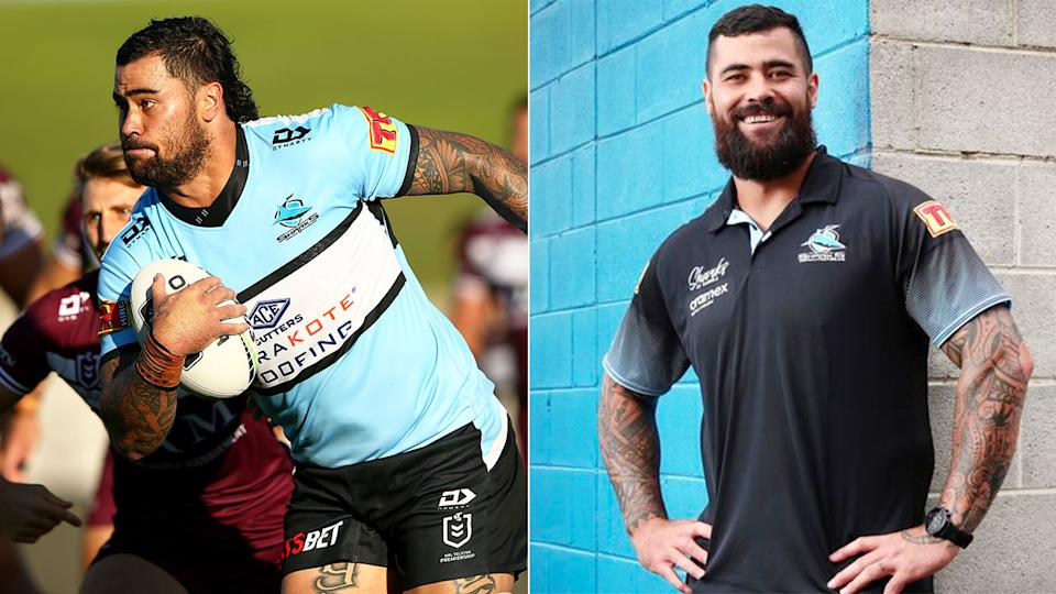 Pictured left, Andrew Fifita in 2020 and his transformation in 2021 on the right.