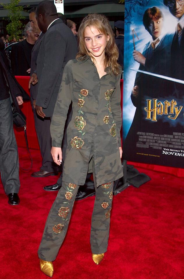 <p>She's all suited up at the premiere of <em>Harry Potter and the Chamber of Secrets</em> on November 10, 2002, in New York City. (Photo: Getty Images) </p>