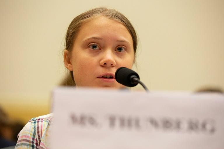 Swedish teen environmental activist Greta Thunberg brought her demand for immediate action on climate change to the US Congress, where she urged lawmakers on both sides of the political aisle to unite behind climate science (AFP Photo/Alastair Pike)