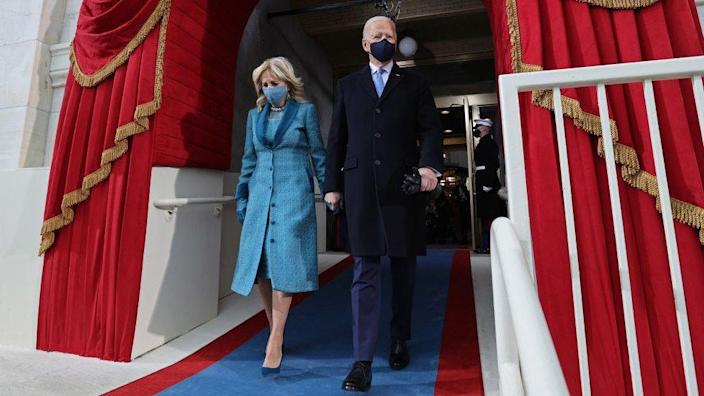 US President Joe Biden and US First Lady Jill Biden arrive for his inauguration as the 46th US President