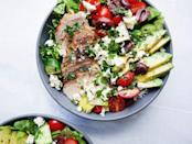 """<p>Grilled chicken salad—filled with cucumbers, tomatoes, and avocado—is the healthy summer recipe everyone NEEDS.</p><p>Get the <a href=""""https://www.delish.com/uk/cooking/recipes/a30650892/grilled-chicken-salad-recipe/"""" rel=""""nofollow noopener"""" target=""""_blank"""" data-ylk=""""slk:Mediterranean Grilled Chicken Salad"""" class=""""link rapid-noclick-resp"""">Mediterranean Grilled Chicken Salad</a> recipe.</p>"""