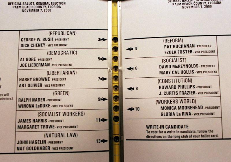 """The close proximity of the holes and the numbering system on the """"butterfly"""" ballot for the candidates caused some confusion for voters in Palm Beach County in the November 2000 presidential election."""