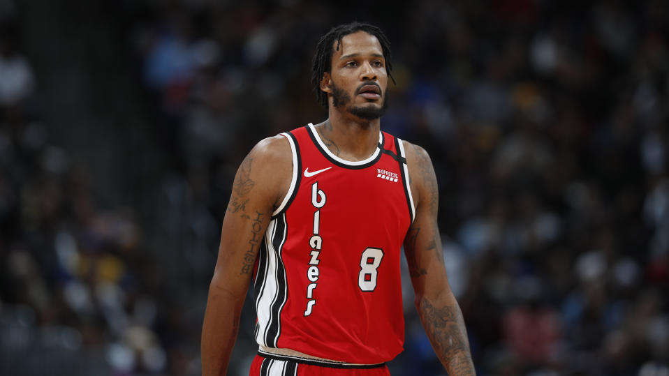 Portland Trail Blazers forward Trevor Ariza will skip the NBA's restart in Orlando and is instead committing to a one-month visitation window with his 12-year-old son. (AP Photo/David Zalubowski)