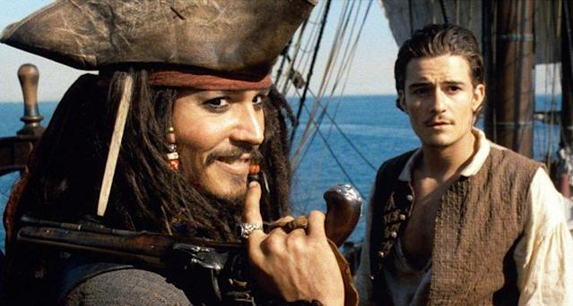 Johnny Depp and Orlando Bloom in 'Pirates of the Caribbean: The Curse of the Black Pearl' (Photo: Walt Disney/courtesy Everett Collection)