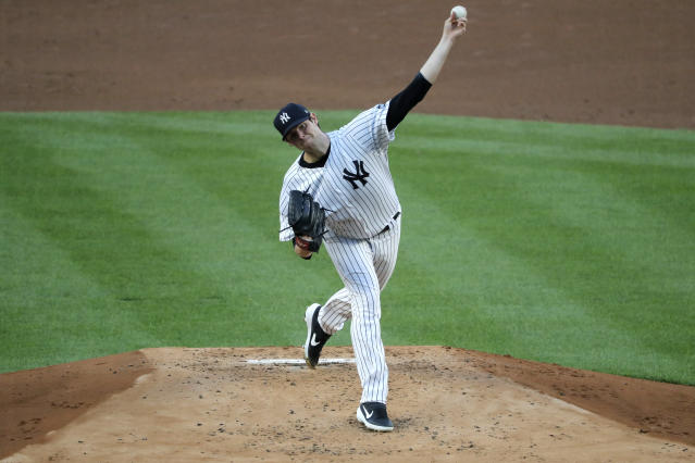 New York Yankees pitcher Jordan Montgomery throws during the second inning of a baseball game against the Boston Red Sox at Yankee Stadium, Friday, July 31, 2020, in New York. (AP Photo/Seth Wenig)