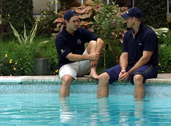 23 Mar 2001:  Justin Langer (left) and Matthew Hayden of Australia chat by the poolside, at the Taj Coromandel Hotel, after the conclusion of the test series won by India, Chennai, India.  X DIGITAL IMAGE  Mandatory Credit: Hamish Blair/ALLSPORT