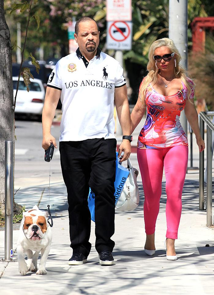 "Because they were accompanied by one of the world's most adorable dogs -- their beloved English bulldog Spartacus, who also has a role in the couple's E! reality series ""Ice Loves Coco."" (3/21/2012)"