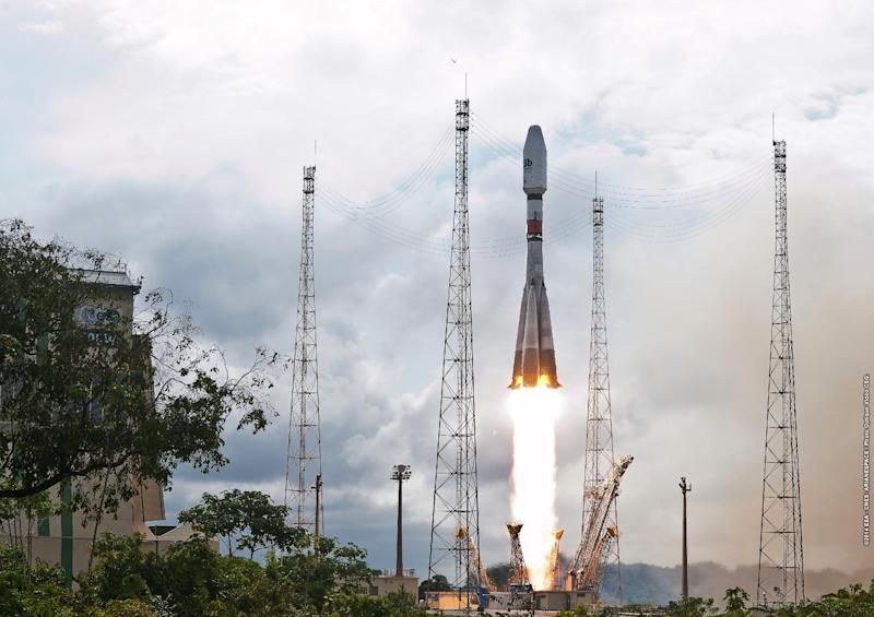 This photo handout by the European Space Agency taken on July 10, 2014 and released on July 11, 2014 shows a Soyuz rocket lifting off from Kourou, French Guiana